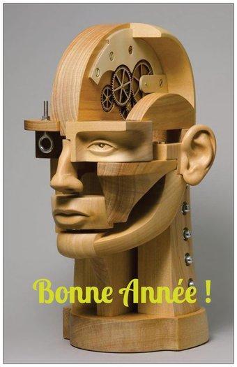 carte de voeux 2020 Sculpture Jon MORRIS - tête composée